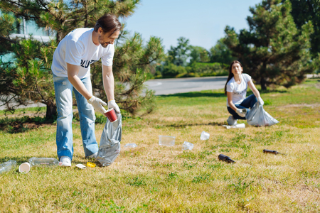 Lively admirable people participating in eco campaign Stock Photo