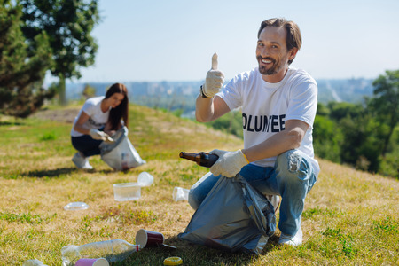 Productive admirable man taking part in local eco campaign