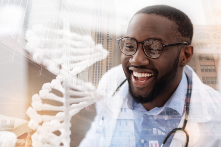 Cheerful doctor expressing happiness Stock Photo