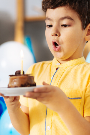 Making birthday wishes. Adorable little boy blowing out a candle on his birthday cake while having a birthday party Stock Photo