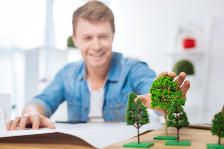 Cute trees. Emotional positive young engineer feeling happy while sitting in his comfortable light office and touching lovely miniature trees on his table