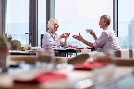 Lovely time. Good looking sincere mature couple talking while drinking coffee and relaxing at the restaurant Stock Photo