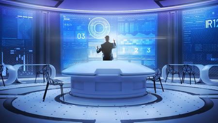 Smart Touch. Hintere Ansicht des professionellen männlichen Softwareentwicklers deing beteiligt an der Arbeit beim Arbeiten mit dem Server