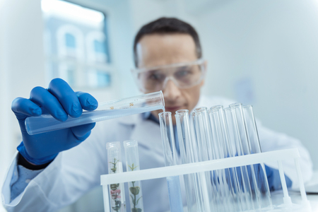 Close up of test tubed in a lab while professional scientist working in microbiology project Stock Photo