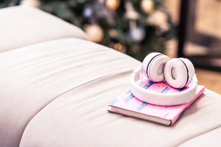 Earphones and a notebook. Pink notebook and earphones looking nice while laying on the pink nice sofa in the room Imagens