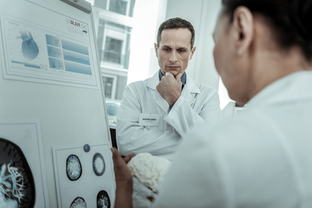 Doctor expressively explaining. Short-haired medical specialist thoughtfully looking on white model brain in his workmate hands 写真素材