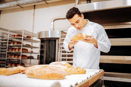 Checking the quality. Professional dark-haired baker standing near table checking the quality of bread