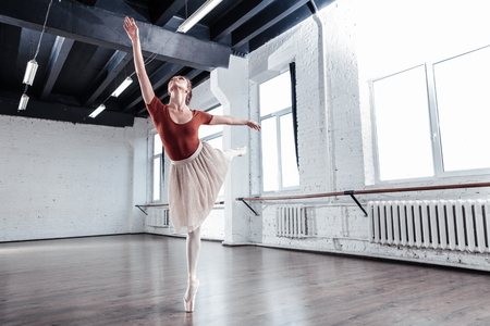 Such a grace. Beautiful young woman doing graceful movements while training in the dancing hall