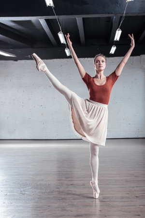 Amazing skills. Attractive elegant ballerina standing on one leg while holding another up Zdjęcie Seryjne