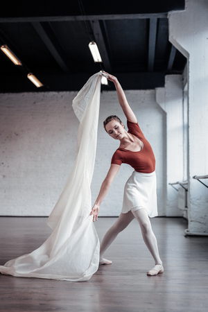 Beautiful dance. Graceful good looking woman dancing while having her own performance