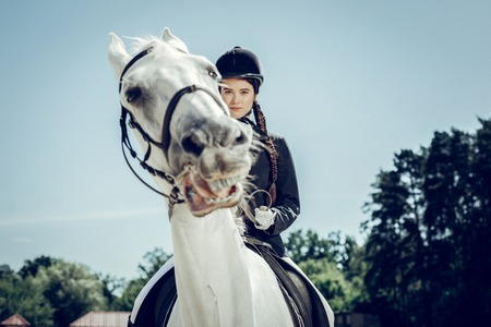 Determined look. Serious attractive woman looking in front of her while going forward on a horse Stockfoto