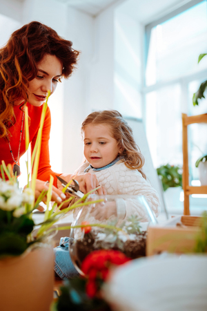 Cutting dry edges. Cute appealing little daughter holing pliers with mom cutting dry edges of plant Imagens - 122666367