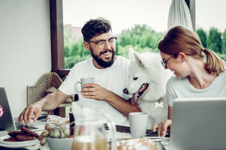 Laughing man during work. Handsome smiling attractive married dark-haired bearded man in glasses looking at his beautiful red-haired wife and fluffy white dog during remote work outdoors.