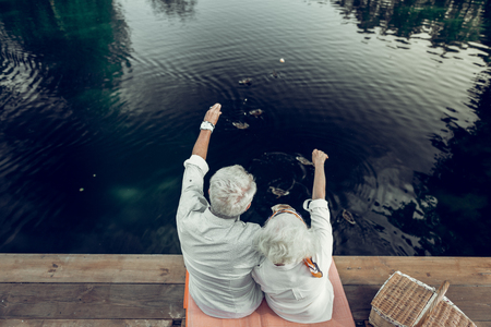 Beautiful scenery. Back shot of nice-looking appealing loving happy elderly spouses with grey short hairdo enjoying the scenery on the lake Stock Photo - 124983391