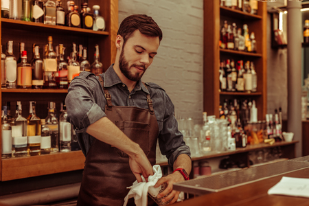 Working at the bar. Handsome attractive dark-haired bearded adult bartender wearing dark clothes and apron polishing glasses at the bar