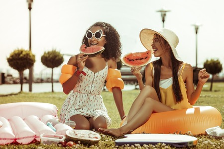 Time with a friend. Happy alluring cheerful dark-haired bewitching lovely pretty girls having a conversation and holding watermelon in hands. Banco de Imagens