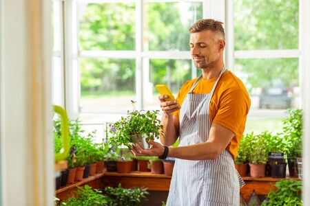 Photographing for social media. Handsome florist smiling and taking picture of a plant. Stock Photo