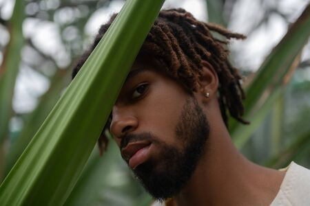 Man wearing earrings. Bearded young handsome man wearing earrings posing near palm tree