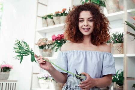 Curly florist. Appealing redhead curly girl working in flower shop and carrying long green flower 免版税图像