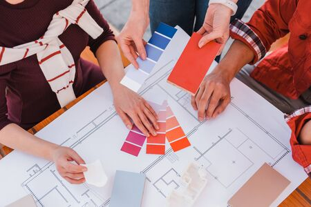 Designers work. Designers creating plan and color palette for their project Stockfoto