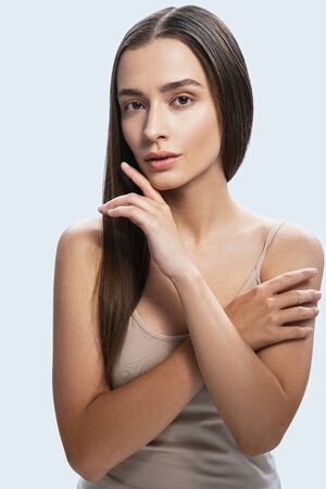 Cute young lady having rest at home. Beauty procedures concept