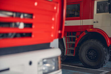 Close up of fire trucks in response for emergency in the parking Stockfoto