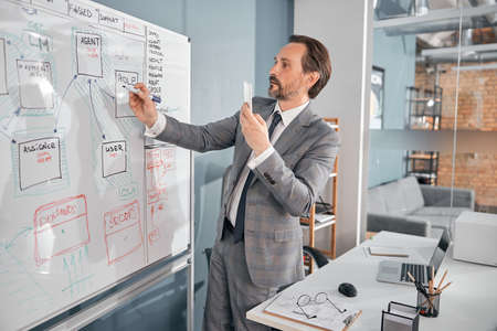 Handsome businessman holding smartphone while working on project strategy in modern office