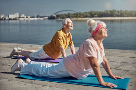 Side view of a merry fit aged woman and her smiling spouse doing an upward-facing dog exercise