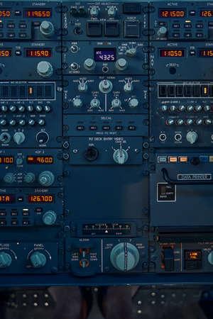 Flight controls on the dashboard used by professional aviators Archivio Fotografico