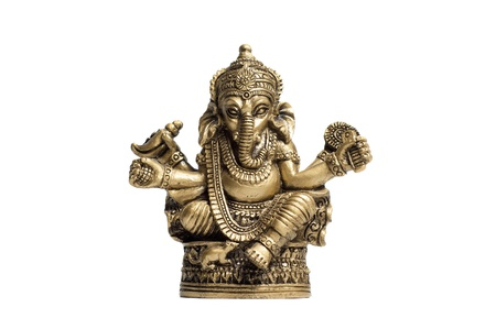 Statuette hindu god Ganesh isolated on the white background. photo