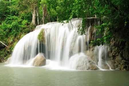 Waterfall in Kanchanaburi, Thailand Stock Photo