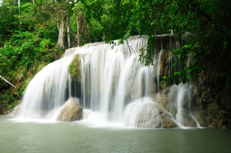 Travel waterfall in Kanchanaburi, Thailand