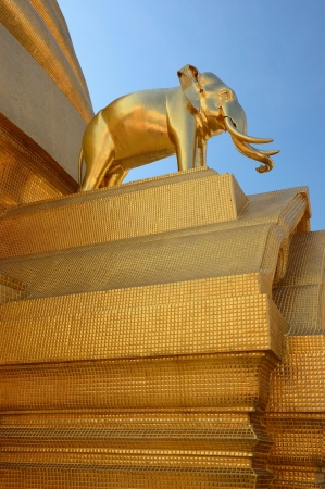 Golden elephant on pagoda in wat bowon, Bangkok, Thailand Stock Photo
