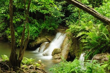 Travel Kroeng Kra Via Waterfall , Kanchanaburi, Thailand Stock Photo