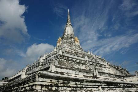 archeologist: Phu khoa thong Pagoda ancient remains with nice blue sky  in  Ayutthaya, Thailand