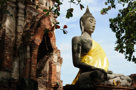 Ancient remains temple and buddha in Ayutthaya, Thailand.