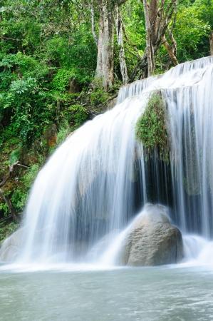 Travel waterfall in Kanchanaburi, thailand Stock Photo