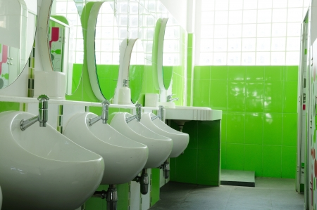 Green and clean child restroom in school, good health management and sanitation  Editorial