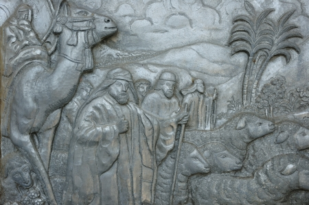 Christianity sculpture story , Christ discovery the land Stock Photo