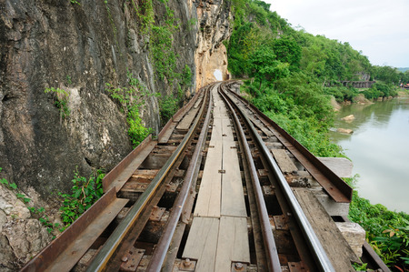 allied: Death Railway built between Allied Prisoners of War  PoW  in 1943 , Kanchanaburi, Thailand