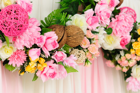 Flower line decorate for Wedding with pink fabric background