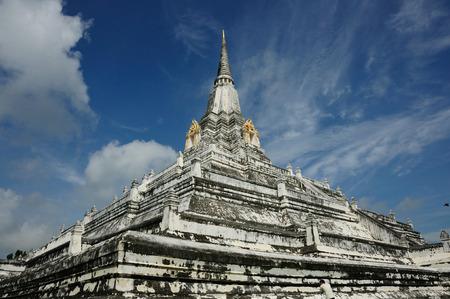 Phu khoa thong Pagoda ancient remains with nice blue sky  in  Ayutthaya, Thailand