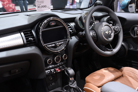 Nonthaburi,THAILAND - March 30, 2018: Inside and Console the New Mini Cooper S Convertible at THE 39th BANGKOK INTERNATIONAL MOTOR SHOW 2018 Sajtókép