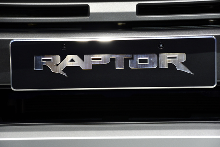 Nonthaburi,THAILAND - March 30, 2018 : Grille the New Ford Raptor at THE 39th BANGKOK INTERNATIONAL MOTOR SHOW 2018