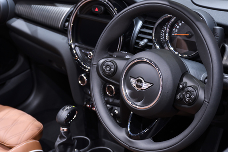 Nonthaburi,THAILAND - March 30, 2018: Multifunction control wheel, the New Mini Cooper S Convertible at THE 39th BANGKOK INTERNATIONAL MOTOR SHOW 2018 Stock fotó - 98903904