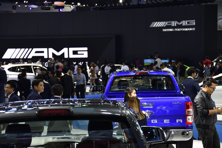 Nonthaburi,THAILAND - March 30, 2018: Mercedes-AMG exhibition booth at THE 39th BANGKOK INTERNATIONAL MOTOR SHOW 2018 Editorial