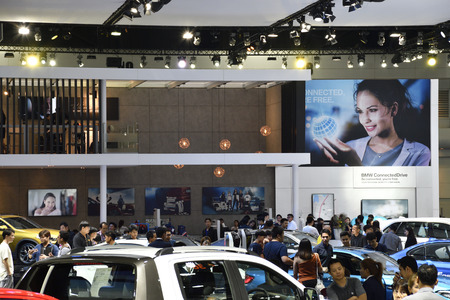 Nonthaburi,THAILAND - March 30, 2018: BMW exhibition booth at THE 39th BANGKOK INTERNATIONAL MOTOR SHOW 2018 Editorial