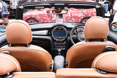 Nonthaburi,THAILAND - March 30, 2018: Inside the New Mini Cooper S Convertible at THE 39th BANGKOK INTERNATIONAL MOTOR SHOW 2018