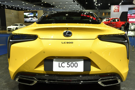 Nonthaburi,THAILAND - March 30, 2018: Rear side, Lexus LC 500 World-class luxury coupe at THE 39th BANGKOK INTERNATIONAL MOTOR SHOW 2018