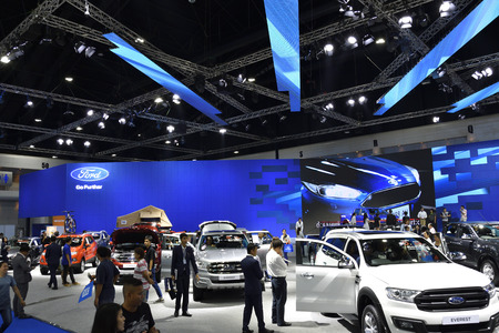 Nonthaburi,THAILAND - March 30, 2018: FORD exhibition booth at THE 39th BANGKOK INTERNATIONAL MOTOR SHOW 2018